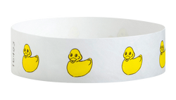 "Tyvek® 3/4"" x 10"" Sheeted Pattern Rubber Duckies pattern wristbands"