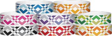 "Tyvek® 3/4"" x 10"" Argyle pattern wristbands"