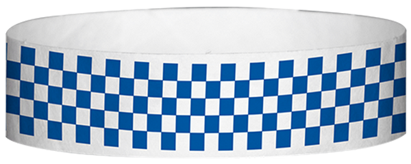 "A Tyvek® 3/4"" X 10"" Checkerboard Blue wristband"