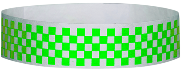 "A Tyvek® 3/4"" X 10"" Checkerboard Neon Lime wristband"