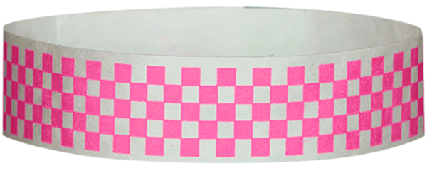 "A Tyvek® 3/4"" X 10"" Checkerboard Neon Pink wristband"
