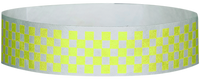 "A Tyvek® 3/4"" X 10"" Checkerboard Yellow Glow wristband"