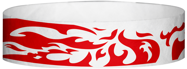 "A Tyvek® 3/4"" X 10"" Flames Red wristband"