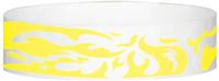 "A Tyvek® 3/4"" X 10"" Flames Yellow Glow wristband"
