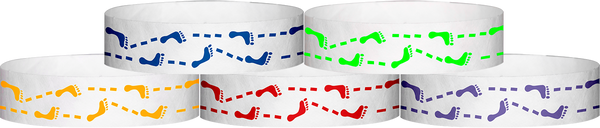"A Tyvek® 3/4"" X 10"" Foot Prints Wristbands"