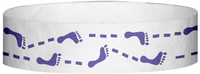 "A Tyvek® 3/4"" X 10"" Foot Prints Purple wristband"