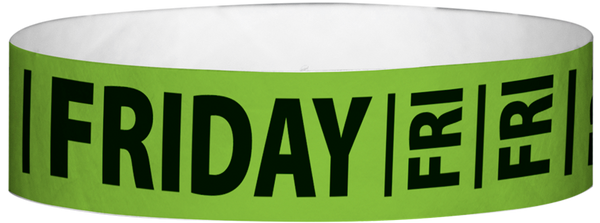 "A Tyvek® 3/4"" X 10"" Friday Neon Lime wristband"