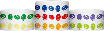 "Tyvek® 3/4"" x 10"" Happy Face pattern wristbands"