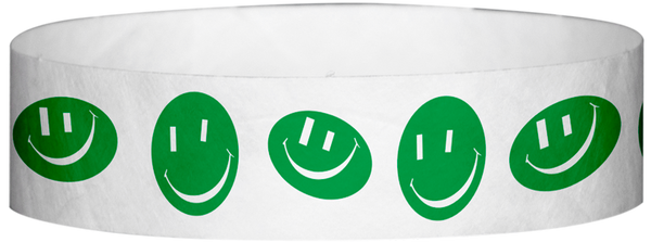 "A Tyvek® 3/4"" X 10"" Happy Face Green Wristband"