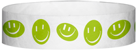 "A Tyvek® 3/4"" X 10"" Happy Face Neon Lime Wristband"