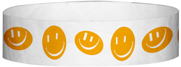 "A Tyvek® 3/4"" X 10"" Happy Face Neon Orange Wristband"