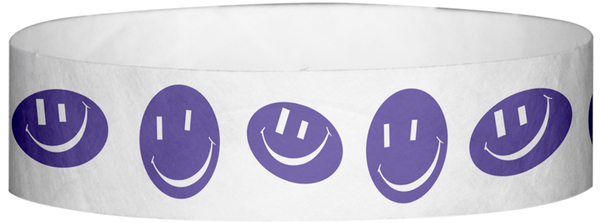 "A Tyvek® 3/4"" X 10"" Happy Face Purple Wristband"