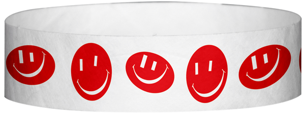 "A Tyvek® 3/4"" X 10"" Happy Face Red Wristband"