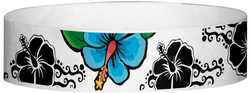 "Tyvek® 3/4"" x 10"" Hawaiian Flowers pattern wristbands"
