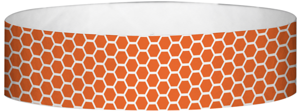 "A Tyvek® 3/4"" X 10"" Honeycomb Orange wristband"