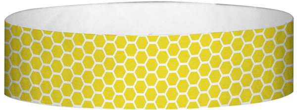 "A Tyvek® 3/4"" X 10"" Honeycomb Yellow wristband"