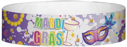 "Tyvek® 3/4"" x 10"" Mardi Gras Martini Glass pattern wristbands"