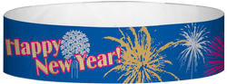 "Tyvek® 3/4"" x 10"" New Years Blue pattern wristbands"