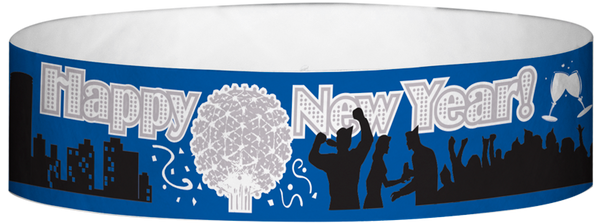 "A Tyvek® 3/4"" X 10"" New Years Ball Drop Wristband"