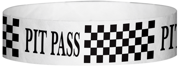 "A Tyvek® 3/4"" X 10"" Pitt Pass Checker Black wristband"