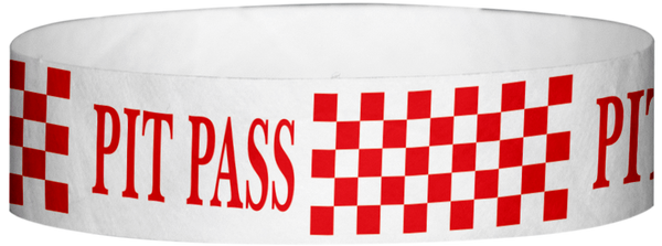 "A Tyvek® 3/4"" X 10"" Pitt Pass Checker Red wristband"