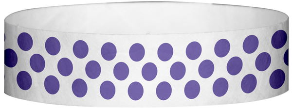 "A Tyvek® 3/4"" X 10"" Polka Dot Purple wristband"