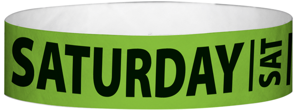 "A Tyvek® 3/4"" X 10"" Saturday Neon Lime wristband"