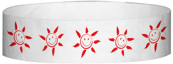 "A Tyvek® 3/4"" X 10"" Sun Face Red wristband"