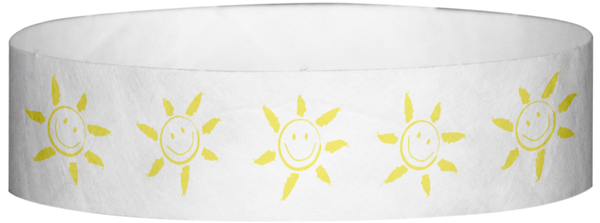 "A Tyvek® 3/4"" X 10"" Sun Face Yellow Glow wristband"
