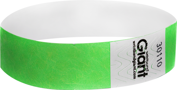 "Tyvek® 3/4"" x 10"" Polka Dot Radiance Neon Lime wristbands"