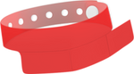 "A Vinyl 1 1/4"" x 9 1/4"" Slim 3-Stub Snapped Solid Edge Glow Red wristband"