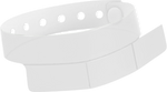 "A Vinyl 1 1/4"" x 9 1/4"" Slim 3-Stub Snapped Solid Frosty Clear wristband"