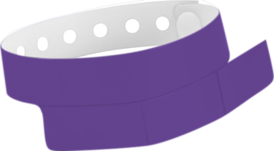 "A Vinyl 1 1/4"" x 9 1/4"" Slim 3-Stub Snapped Solid Purple wristband"