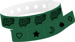"Custom Vinyl 1 1/4"" x 9 1/4"" 5-Stub One Color Imprint Snapped Wristband"