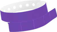 "A Vinyl 1 1/4"" x 9 1/4"" Slim 5-Stub Snapped Solid Purple wristband"