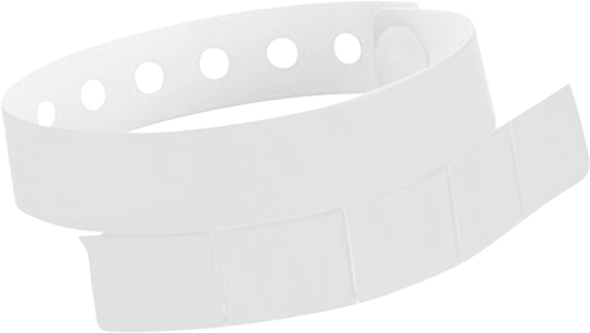"A Vinyl 1 1/4"" x 9 1/4"" Slim 5-Stub Snapped Solid White wristband"