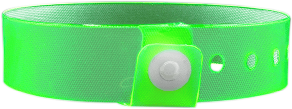 "A Vinyl 3/4"" x 10"" L-Shape Snapped Solid Edge Glow Neon Lime wristband"