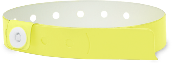 "A Vinyl 1/2"" x 11 1/2"" 1-Stub Snapped Solid Edge Glow Yellow wristband"