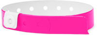 "A Vinyl 1/2"" x 11 1/2"" 1-Stub Snapped Solid Neon Pink wristband"