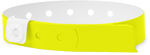 "A Vinyl 1/2"" x 11 1/2"" 1-Stub Snapped Solid Neon Yellow wristband"
