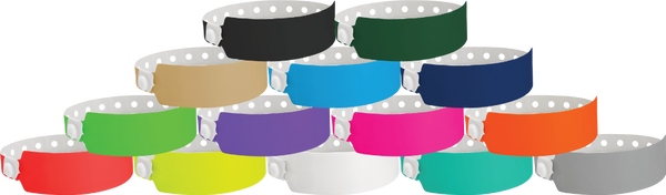 "A Vinyl 1"" x 10"" Wide Face Snapped Solid wristbands"