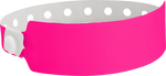 "A Vinyl 1"" x 10"" Wide Face Snapped Solid Pink Glow wristband"