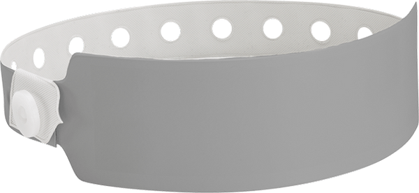 "A Vinyl 1"" x 10"" Wide Face Snapped Solid White wristband"