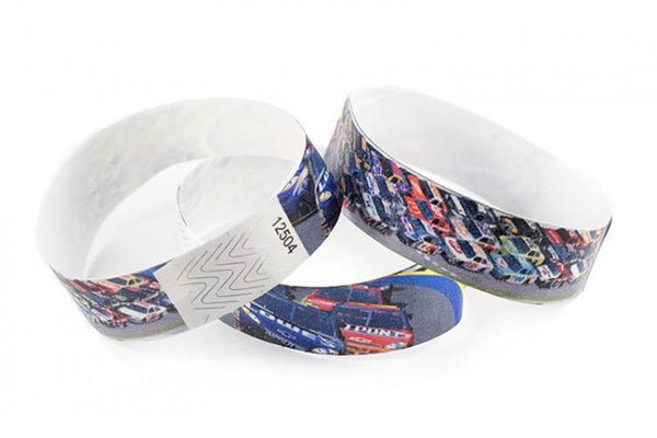 "A Tyvek® 3/4"" X 10"" Race Track Checker Multicolored wristband"