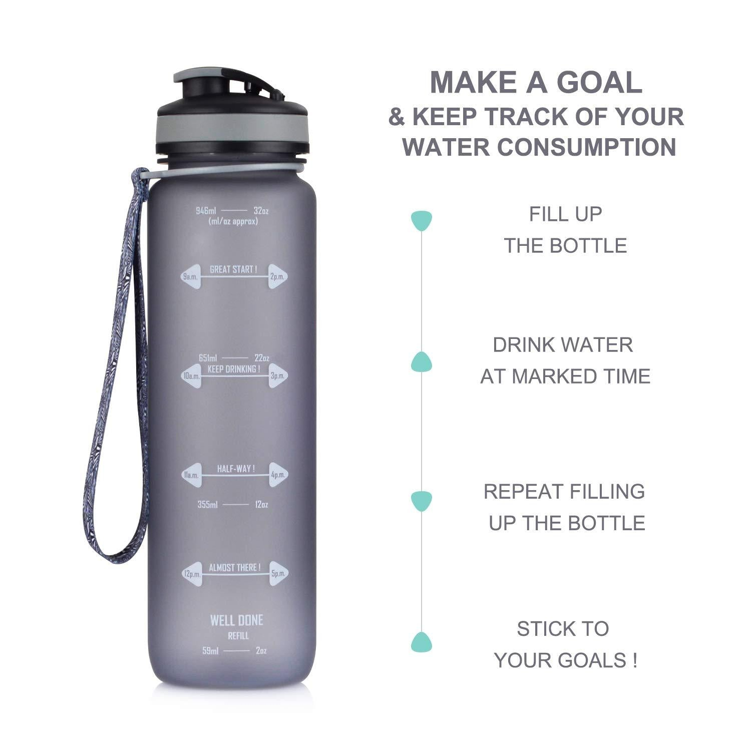 32oz Motivational Fitness Workout Sports Water Bottle - Prep it