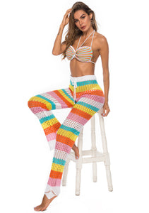 Rainbow Hollow Knitted Crochet Beach Leggings - Maui Kitten Beachwear