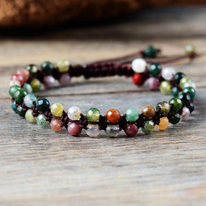 Faceted India Stone Braided Bracelet