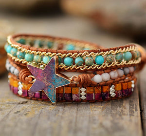 Stacked Fashion Star Leather Wrap Bracelet