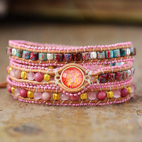 Bohemian Cute Pink Leather Wrap Bracelet