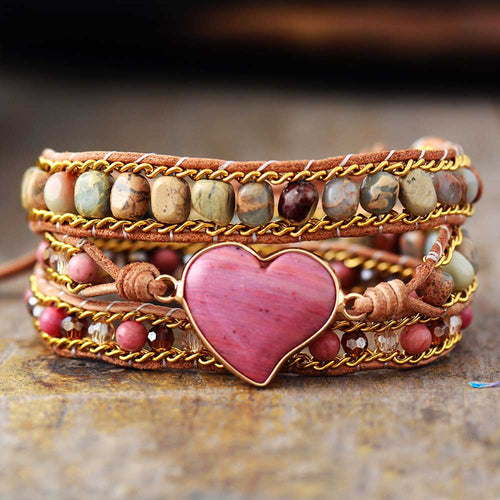 Luxury Jasper Heart Shape Wrap Bracelet